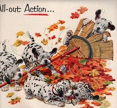 vintage dalmatian dogs playing autumn 1954 advertisement texaco