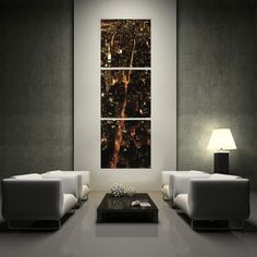 """Vertical NYC at Night (20""""W x 20""""H x 0.5""""D)"""