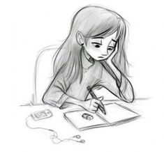 New Music Drawings Sketches Headphones Ideas Sad Drawings, Music Drawings, Girly Drawings, Cool Art Drawings, Pencil Art Drawings, Disney Drawings, Drawing Faces, Sad Girl Art, Sad Girl Drawing