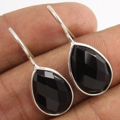 925 Sterling Silver Earrings Natural BLACK ONYX Pear Checker Faceted Gemstone #Unbranded #Stud