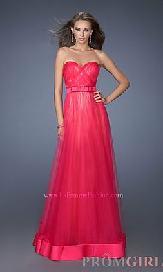 Floor Length Strapless Sweetheart Tulle Prom Dress at PromGirl.com in blue
