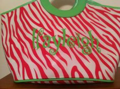 Pink Zebra stripe Lunch Bag by Flipflopsandpolkadot on Etsy
