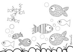 Fish Coloring page Fish Coloring Page, Coloring Book Pages, Coloring Sheets, Fish Drawings, Doodle Drawings, Doodle Art, Doodles Zentangles, Zentangle Patterns, Under The Sea Theme