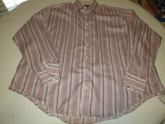 Mens TD Thomas Dean striped 2XLT long sleeve button up shirt casual EUC@ #TDThomasDean #ButtonFront