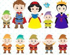 Cute Princess Digital Clipart Princess Clip Art Cute by Cutesiness Snow White Birthday, 7 Dwarfs, Cute Princess, Thinking Day, Finger Puppets, Princesas Disney, Disney Love, Baby Disney, Cartoon Characters