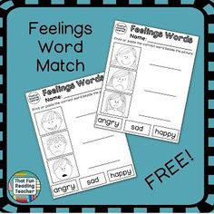 #Feelings word and picture match FREEBIE is a printable that you can easily differentiate for your students 3 ways!