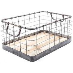 Brushed Silver Wire Basket Set with Wood Bottoms | Hobby Lobby | 373977