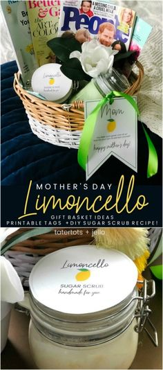 Mother's Day Gift Basket Ideas, Printable Gift Tags + DIY Limoncello Sugar Scrub Recipe Simple Gifts, Easy Gifts, Homemade Gifts, Sugar Scrub Recipe, Sugar Scrub Diy, Limoncello, Mothers Day Crafts, Mother Day Gifts, Lemon Party