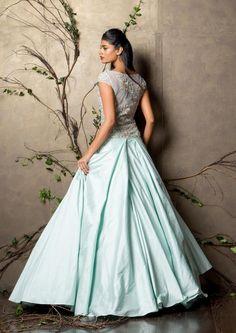 A dusty blue raw silk gown.