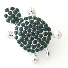 1 PC 18MM Green Turtle Rhinestone Silver Candy Snap Charm kb8180 CC0893