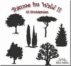 Bäume, 6 verschiedene Motive in je 2 Größen für euch zum Nacharbeiten.  Alle Motive sind für den 10 x 10 Rahmen geeignet.    Diese Schattenbilder bzw.