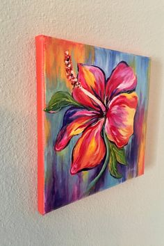 "JSikesArt Acrylic Painting Floral -- ""Rainbow Hibiscus"" on canvas by Jamie Acrylic Painting Flowers, Easy Canvas Painting, Simple Acrylic Paintings, Canvas Art, Paintings On Canvas, Acrylic Painting Inspiration, Floral Paintings, Flower Canvas, Flower Art"