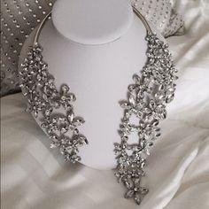 Simulated Diamond Cascading Flowers Necklace