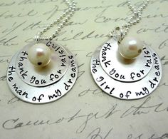 Wedding Set -Thank You For Raising the Man Girl Of My Dreams  - Two Sterling Silver Hand Stamped Necklaces Mother Of the Bride Groom
