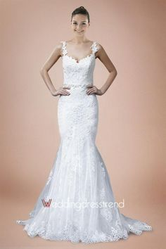 Best Brilliant Straps Court Train Lace Wedding Dress - Beautiful Wedding Dresses Wholesale and Retail Online