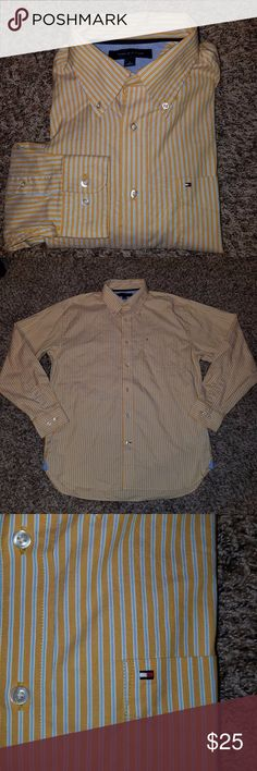"""Tommy Hilfiger Dress Shirt Gold Stripes Medium Tommy Hilfiger Men's Stripe Dress Shirt - Gold/ Blue Stripe Size Medium.  Measurements when laid flat:  Armpit to Armpit: 23""""  Length: 32.5""""  Shoulders: 20""""   Shirt is in excellent condition!   See pictures for best description!   Thanks for looking! Message me with any questions! Tommy Hilfiger Shirts Dress Shirts"""