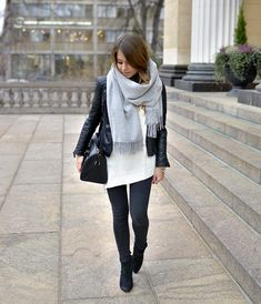 Chunky Scarf, Biker & Boots - Marianna wearing: Zara Leather Jacket, BikBok by Marianna Sweater, Topsop Jeans, Ash Boots and Saint Laurent Bag.