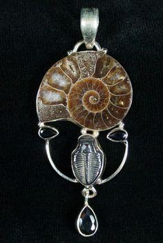 Ammonite + Trilobite Pendant - Sterling Silver
