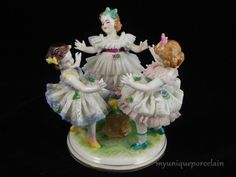 ANTIQUE DRESDEN MZ GERMAN LACE FIGURINE DANCING GROUP GIRLS RING AROUND THE ROSE