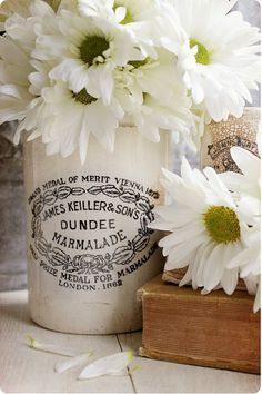 daisies - we have that same jar at my house :)