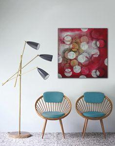 """Original peinture abstraite - peinture acrylique rouge Cikel - Cirkel White - - 31,5 """"(80cm) x 31,5"""" (80cm) on Etsy, 263,02€"""