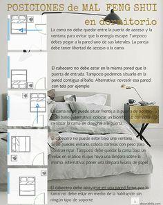 POSICIONES MAL FENG SHUI en dormitorio