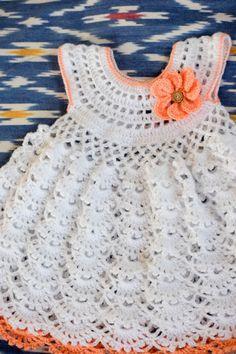Delilah Crochet dress--Free pattern for baby girl crochet dress.
