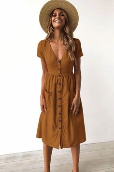 Button Down Short Sleeve Swing Dress with - Summer style - Mode Casual Dresses, Fashion Dresses, Maxi Dresses, Fashion Clothes, Sun Dresses Modest, Romantic Dresses, Comfy Dresses, Casual Clothes, Cheap Clothes
