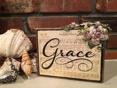 """I found this lovely """"Grace"""" decorative box in a gift shop in Granbury - it just had the hymn page on the black box. I used gold Nuvo Embellishment Mousse and wonderful Heartfelt Creations' Classic Rose collection stamps and dies to further embellish it. Wood Projects, Craft Projects, Projects To Try, Craft Ideas, Rustic Signs, Wood Signs, How To Make Signs, Arts And Crafts, Diy Crafts"""