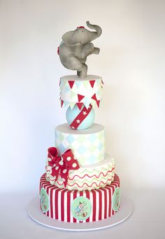 Aqua & Red Stripe, Swirls, Harlequin and Bunting Circus Cake with Elephant Topper    LOVE!