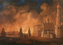14. - 20.9.1812 Brand von Moskau, 11.959 Tote und 12.456 tote Pferde. 3/4 der Stadt wurde zerstört