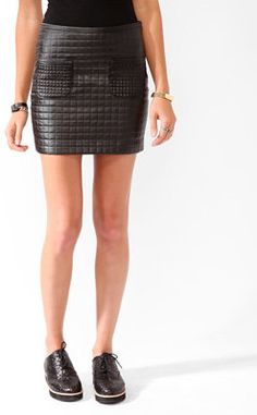 #Forever21                #Skirt                    #Quilted #Faux #Leather #Skirt                      Quilted Faux Leather Skirt                                                    http://www.seapai.com/product.aspx?PID=106912