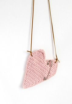 Neck Purse Pink Heart for Sweet Messages/ Pink by LikeFreja, $25.00