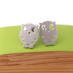 cute owl stud earrings, silver post