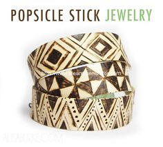 Something that has been on my craft project to do list for a while is bending popsicle sticks into bracelets. Since they are wood and since I am obsessed with wood burning, I thought I would put my ow Popsicle Stick Crafts, Popsicle Sticks, Craft Stick Crafts, Wood Crafts, Wood Burning Crafts, Wood Burning Art, Popsicle Stick Bracelets, Diy Jewelry, Jewelry Making