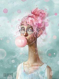Tenåringsboble | Lisa Aisato - nettbutikk Art And Illustration, Blowing Bubbles, Hug You, Beautiful Drawings, Surreal Art, These Girls, Art Forms, Surrealism, Illustrators