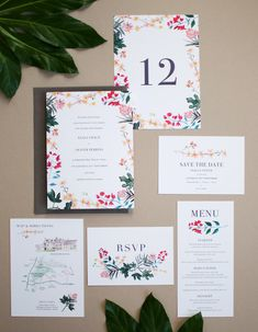 Meditterranean Botanical Wedding Stationery | By Hollyhock Lane. Beautiful summer wedding invitation with matching rsvp, save the date, map, menu, place card and seating plan with hand painted provencal flowers and foliage. The decorative flowers include fig leaves, bougainvillea, oleander and almond blossom. Pinks and greens, perfect for a summer destination wedding. #tuscanywedding #fineartwedding