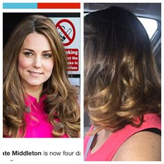 Kate Middleton inspired hair color in Ombré Carmel brown