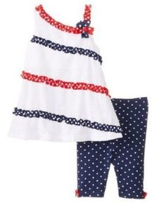 Bonnie Jean Girls 24 MONTHS Seersucker 2-Pc Americana Tunic & Capri Set NWT #BonnieJean #DressyHoliday