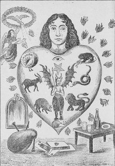 An allegorical image depicting the human heart subject to the seven deadly sins, each represented by an animal (clockwise: toad = avarice/greed; snake = envy; lion = wrath/rage; snail = sloth; pig = gluttony; goat = lust; peacock = pride) / Virtues: chastity (vice: lust); temperance (vice: gluttony); charity (vice: greed); diligence (vice: sloth); patience (vice: wrath/rage); kindness (vice: envy); humility (vice: pride)