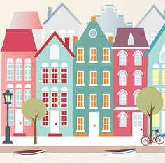 Amsterdam print printable poster print city by Ilustracionymas Nursery Prints, Nursery Decor, Wall Art Prints, Poster Prints, Arte Online, Building Illustration, House Painting, Wall Art Decor, Amsterdam