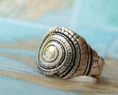 Silver Shell Ring, Nautical Jewelry, Reclaimed Fine Silver Sun Dial Seashell Rustic Ring, Beach Ring Sizes 4 5 6 7 8 9 10 11 12 13 14 15.via Etsy.