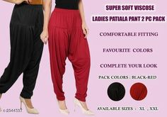 Ethnic Bottomwear - Patiala Pants Fabulous Viscose Women's Patiala Pant Combo Fabric: Viscose  Size: XL - 24 in - 32 in XXL - 26 in - 34 in Length: XL - 40 in XXL - 41 in Type: Stitched Description: It Has 2 Pieces Of Patiala Pants Colour: Black - Red Pattern: Solid Country of Origin: India Sizes Available: XL, XXL *Proof of Safe Delivery! Click to know on Safety Standards of Delivery Partners- https://ltl.sh/y_nZrAV3  Catalog Rating: ★4 (458)  Catalog Name: Fabulous Viscose Women's Patiala Pant Combo Vol 17 CatalogID_401240 C74-SC1018 Code: 943-2944397-