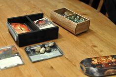 Board game deck holder from foam core....future project. http://boardgamegeek.com/image/1594052/lord-rings-card-game