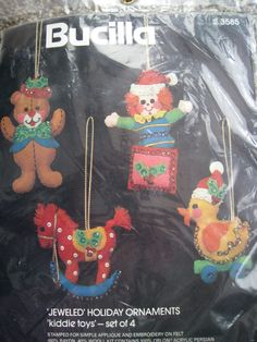 Christmas Bucilla Felt Applique Holiday Ornament Kit,KIDDIE TOYS,Bear,Horse,NIP #Bucilla