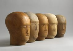 Robert Young Antiques - Folk Art Collection. A Group of Five Milliner's Lasts, Hand Carved Wood With Minimal Stylised Facial Details, Northern European, c.1920. #FolkArt