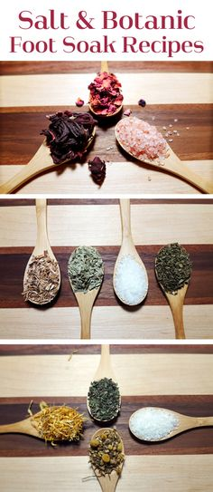 Salt & Botanic Foot Soak Recipes with  Dried Herbs and Bath Salts #naturalbeauty #DIYbeauty