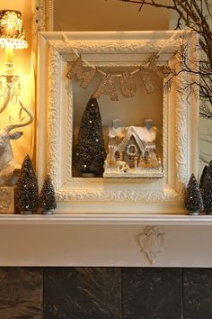 frame with bottle tree and glitter house