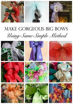 Make Gorgeous Big Bows Using Same Simple Method ~ Make all kinds of gorgeous big bows from different types of ribbon and fabric using this simple bow making method! / timewiththea.com