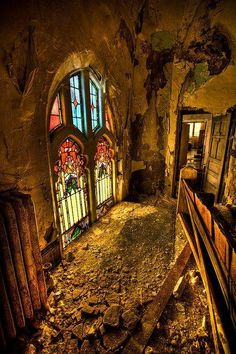 The stained glass within abandoned St,Curvy church,Detroit, Michigan